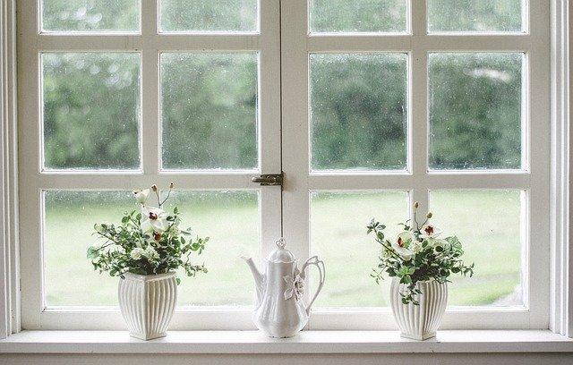 okno s květinami